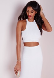 Missguided Jacquard Cross Back Crop Top White