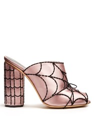 Marco De Vincenzo Spider Web Embroidered Satin Mules Pink Multi