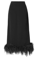 Co Feather Trimmed Crepe Midi Skirt Black