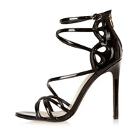 River Island Womens Black Patent Strappy Heels