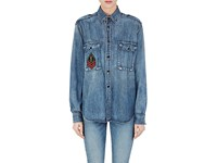 Saint Laurent Women's Cotton Chambray Ysl Patch Shirt Blue