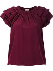 Ulla Johnson Ruffled Detail T Shirt Red