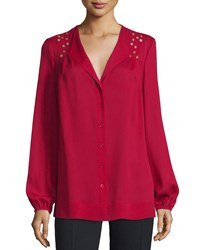 Escada Grommet Embellished Button Front Blouse Ruby Red
