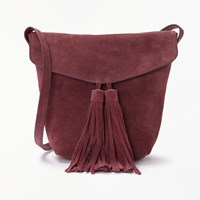 And Or Mila Suede Flapover Tassel Cross Body Bag Wine
