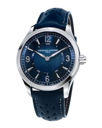 Frederique Constant 42Mm Horological Smart Watch With Leather Strap Navy Blue