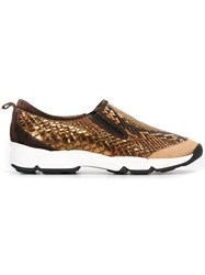 Ermanno Scervino Snakeskin Effect Slip On Sneakers Metallic
