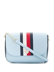 Tommy Hilfiger Stripe Detail Flap Crossbody Bag Blue