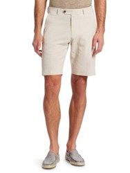 Saks Fifth Avenue Collection Striped Seersucker Shorts Tan White