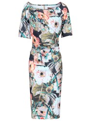 Jolie Moi Retro Floral Print Half Sleeve Dress Brown