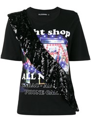 Filles A Papa Night Shop T Shirt With Sequin Frill Cotton Black