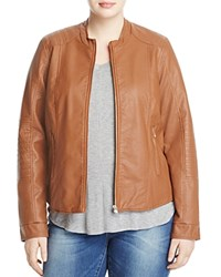Junarose Prisma Faux Leather Moto Jacket Mocha Bisque