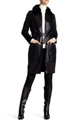 Zac Posen Beverly Long Length Genuine Lamb Shearling Collar Leather Coat Multi