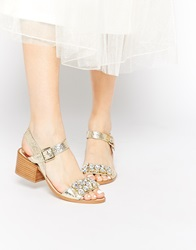 Faith Dassett Gold Leather Embellished Mid Heel Sandals