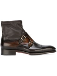 Santoni Monk Strap Ankle Boots Brown