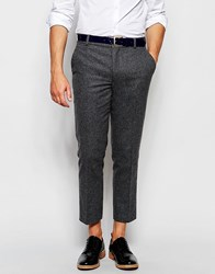 Farah Cropped Trousers In Wool Mix Slim Fit Grey Marl