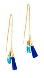 Rebecca Minkoff Threader Earrings With Tassels Gold Navy