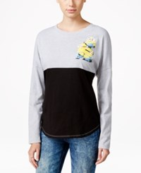 Hybrid Juniors' Long Sleeve Despicable Me Graphic Top Heather Grey Black