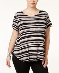 Alfani Plus Size Printed T Shirt Only At Macy's Brushed Strokes