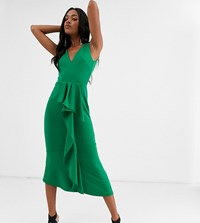 True Violet Exclusive Frill Detail Midaxi Dress In Emerald Green