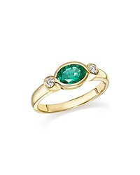 Bloomingdale's Emerald Marquise And Diamond Bezel Ring In 14K Yellow Gold 100 Exclusive Green White