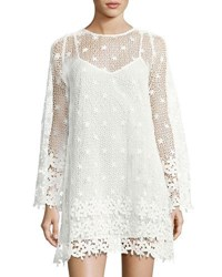 French Connection Posy Lace Long Sleeve Flared Dress White