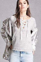 Forever 21 Hooded French Terry Lace Up Top
