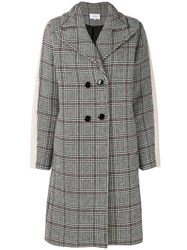 Carven Prince Of Wales Oversized Coat Grey
