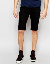 Asos Denim Short In Super Skinny Longer Length Black