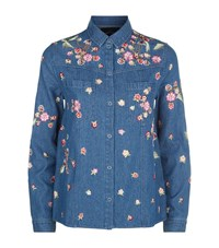 Needle And Thread Embroidered Denim Shirt Female Blue