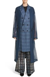 Toga 'S Double Breasted Mesh Coat Navy