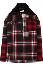 Mcq By Alexander Mcqueen Oversized Faux Fur Lined Tartan Cotton Twill Jacket Red