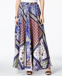 Cable And Gauge Printed A Line Maxi Skirt Blue Mixpatch