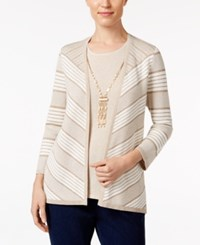 Alfred Dunner Layered Look Necklace Sweater Multi