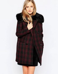 French Connection Highland Wool Faux Fur Collar Coat Biker Berry Red