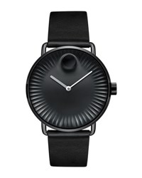 Movado 40Mm Edge Watch With Leather Strap Black