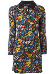 Jean Paul Gaultier Vintage Face Pattern Collar Dress Multicolour