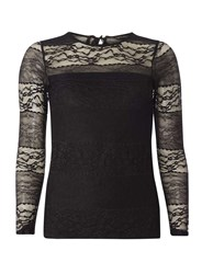 Dorothy Perkins Black Lace Bow Back Top
