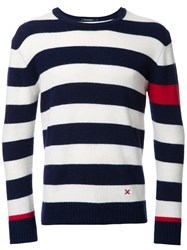 Guild Prime Striped Crew Neck Jumper Blue