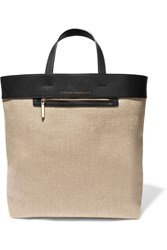 Victoria Beckham Leather Paneled Linen Tote Nude