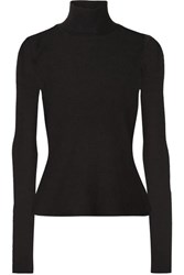 Alexander Wang T By Ribbed Wool Turtleneck Sweater Black