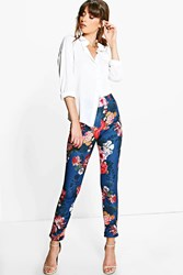 Boohoo Autumn Floral Stretch Skinny Trousers Navy