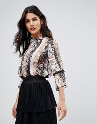 Morgan Mix N Match Floral Lace Trim Blouse Multi