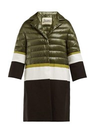 Herno Contrast Panel Quilted Down Filled Coat Green White