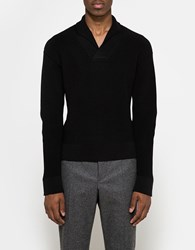 Christophe Lemaire Shawl Collar Sweater Black