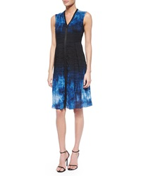 Elie Tahari Emma Short Sleeve Marble Print Sheath Dress