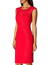 Karen Millen Sheer Yoke Pencil Dress Red