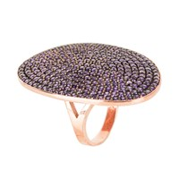 Latelita London St Tropez Ring Rosegold Amethyst Zircon Rose Gold Pink Purple