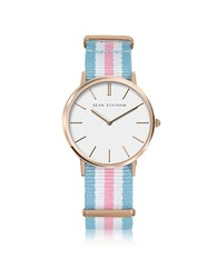 Sean Statham Rose Goldtone Stainless Steel Unisex Quartz Watch W Light Blue And Pink Striped Canvas Band
