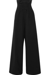 The Row Roy Lace Up Wool Blend Crepe Wide Leg Pants Black