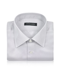 Forzieri Silver Gray Pure Silk Dress Shirt